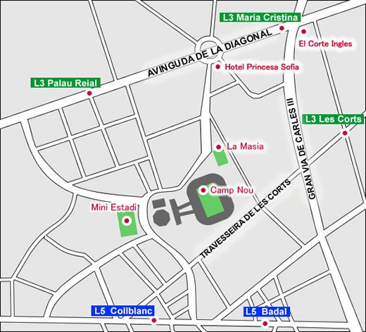 カンプノウ周辺地図